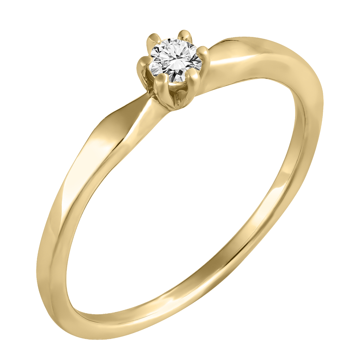 Inel de Logodna Solitaire Dama Aur Galben 14kt cu Diamant Rotund Briliant in 6 Gheare in Stoc-img1
