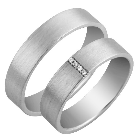 Set De Verighete Aur Alb 14kt Cu 4 Diamante Rotund Briliant Profil