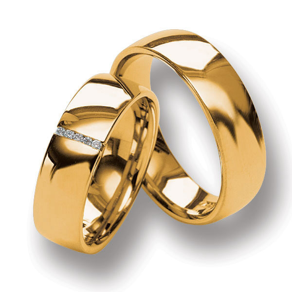 Set de Verighete din Aur Galben 14kt cu 5 Diamante Rotund Briliant, Profil Bombat Finisaj Lustruit-img1