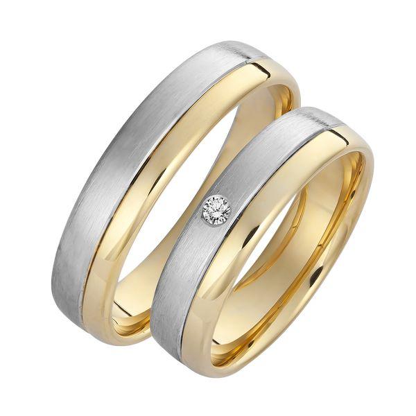 Set De Verighete Din Aur Galben Si Aur Alb De 14kt Cu Un Diamant