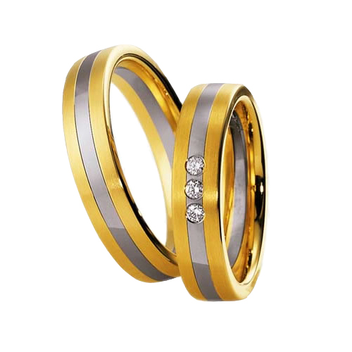 Set De Verighete Din Aur Galben Si Aur Alb De 14kt Cu 3 Diamante