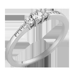 Inel cu Mai Multe Diamante Dama Aur Alb 14kt cu 3 Briliante Rotunde in Centru si Diamante Mici pe Laterale