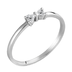 Inel Dama/ Inel de Logodna Aur Alb 14kt cu 2 Diamante in Forma de Inima