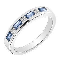 Inel Semi Eternity Dama Aur Alb 18kt cu Safire si Diamante in Setare Canal in Stoc
