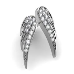 RDFUL31/14W-Cercei Aur Alb 14kt cu Diamante Rotund Briliant,Setare Gheare,Forma de Aripa