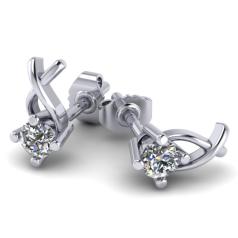 RDFUL471/14W-Cercei Aur Alb 14kt cu Diamante Rotund Briliant,Setare Gheare