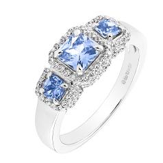 Inel cu Safir si Diamant Dama din Aur Alb 18kt cu 3 Safire Inconjurate de Diamante Rotunde Mici in Stoc