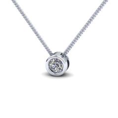 Pandantiv cu Diamant Solitaire Aur Alb 14kt cu Diamant Rotund Briliant in Setare Rub-Over cu Lantisor in Stoc