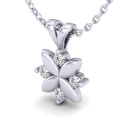 Pandantiv cu Mai Multe Diamante Aur Alb 14kt cu 4 Diamante Rotunde,In Forma De Floare