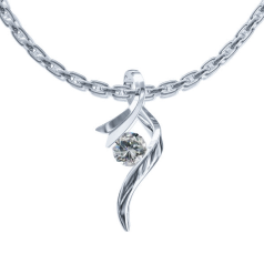 RDMED871/14W-Pandantiv cu Diamant Solitaire Aur Alb 14kt cu un Diamant Rotund Briliant in Forma de Panglica si Lantisor Aur Alb 14kt