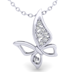 Pandantiv cu Mai Multe Diamante Aur Alb 14kt cu Diamante Rotund Briliant,Setare Gheare,Pandantiv in Forma de Fluturas si Lantisor de Aur Alb 14kt în Stoc