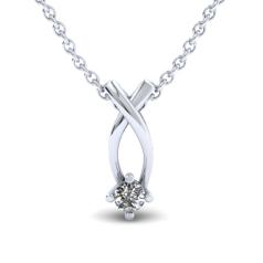 RDMED911/14W-Pandantiv cu Diamant Solitaire Aur Alb 14kt cu Diamant Rotund Briliant in Setare In Gheare si Lantisor Aur Alb 14kt