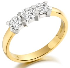 Three Stone Ring/Engagement Ring for women in 18ct yellow and white gold with 3 round brilliant cut diamonds fixed in a claw setting
