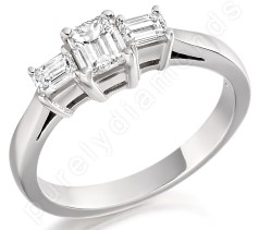 Three Stone Ring/Engagement Ring for women in 18ct white gold with three emerald cut diamonds