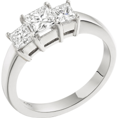 Three Stone Ring/Engagement Ring for women in platinum with 3 princess cut diamonds