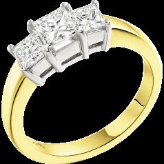 Drei-Steine Ring/Verlobungsring für Dame in 18kt Gelbgold und Weißgold mit 3 Princess Schliff Diamanten