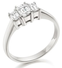 Three Stone Ring/Engagement Ring for women in 18ct white gold set with 3 emerald cut diamonds