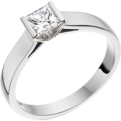Single Stone Engagement Ring for Women in 18ct White Gold with a Princess Cut Diamond in a Bar Setting on Offer