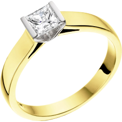 Single Stone Engagement Ring for Women in 18ct Yellow and White Gold with a Princess Cut Diamond in a Bar Setting