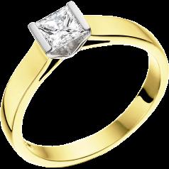 Solitär Verlobungsring für Dame in 18kt Gelbgold und Weißgold mit einem Princess Schliff Diamanten in Balkenfassung