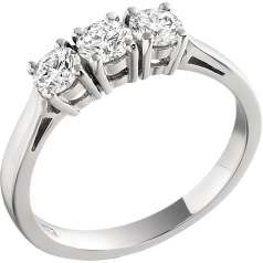 Three Stone Ring/Engagement Ring for women in platinum set with 3 round brilliant cut diamonds