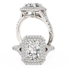 Inel de Logodna cu 3 Diamante Dama Aur Alb 18kt cu 3 Diamante Forma Rotund Briliant