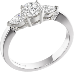 Three Stone Ring/Engagement Ring for women in platinum with a round centre and two pear-shaped diamonds