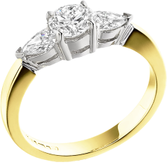 Three Stone Ring/Engagement Ring for women in 18ct yellow and white gold with a round centre and two pear-shaped diamonds