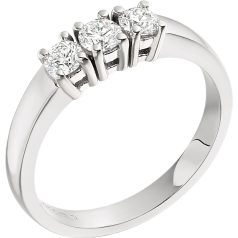 RD024W - 18ct white gold ring with 3 round brilliant cut diamonds