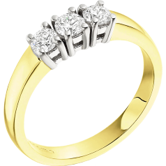Three Stone Ring/Engagement Ring for women in 18ct yellow and white gold with 3 round brilliant cut diamonds in claw setting