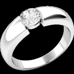 Solitär Verlobungsring für Dame in 9kt Weißgold mit einem runden Diamanten in Spannfassung