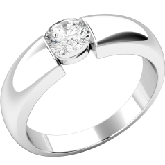 Single Stone Engagement Ring for Women in 18ct White Gold with a Round Diamond in a Tension Setting