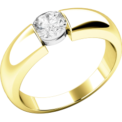 Single Stone Engagement Ring for Women in 18ct Yellow Gold with a Round Diamond in a Tension Setting