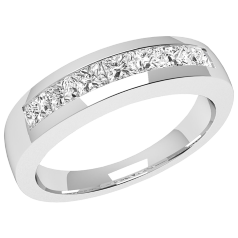 RD033/9W - 9ct white gold ring with 7 channel-set princess cut diamonds