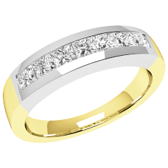 RD033/9YW - 9ct yellow and white gold ring with 7 channel-set princess cut diamonds