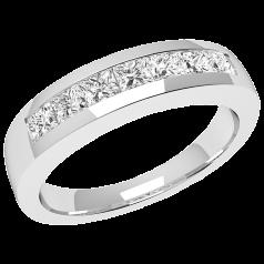 RD033PL - Platin Ring mit 7 Princess Schliff Diamanten in Kanalfassung