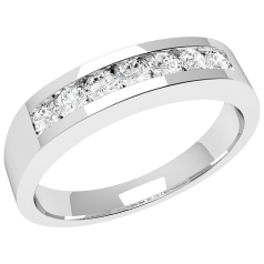 RD036U - Palladium ring with 7 channel-set round diamonds