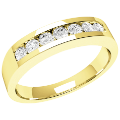 RD036Y - 18ct yellow gold ring with 7 channel-set round diamonds