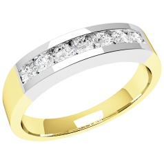 RD036YW - 18ct yellow and white gold ring with 7 channel-set round brilliant cut diamonds