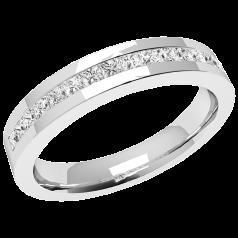 Halb Eternity Ring für Dame in Platin mit 15 Princess Schliff Diamanten in Kanalfassung
