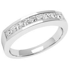 Half Eternity Ring for women in 18ct white gold with 9 Princess cut diamonds in channel setting on Offer
