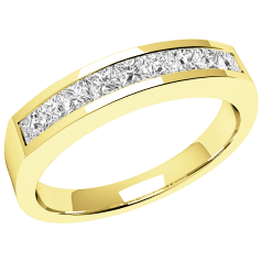 RD043Y - 18kt Gelbgold Ring mit 9 Princess Schliff Diamanten in Kanalfassung