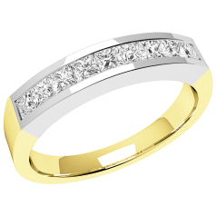 RD043YW - 18ct yellow and white gold ring with 9 channel-set princess cut diamonds