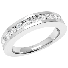 RD045PL - Platinum ring with 15 channel-set round diamonds