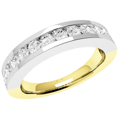 RD045YW - 18ct yellow and white gold ring with 15 channel-set round diamonds