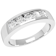RD047W - 18ct white gold ring with 5 channel-set round diamonds