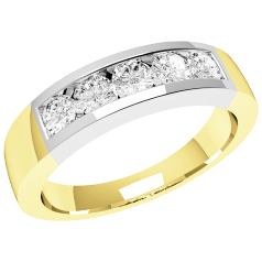 RD047YW - 18ct yellow and white gold ring with 5 channel-set round diamonds