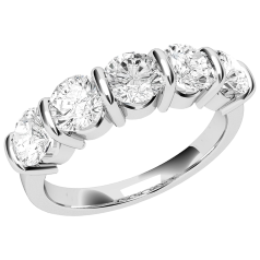 Inel Semi Eternity Dama Aur Alb, 18kt cu 5 Diamante Rotunde in Setare Tip Bara