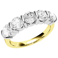 RD048YW - 18ct yellow and white gold ring with five round diamonds in a bar-setting