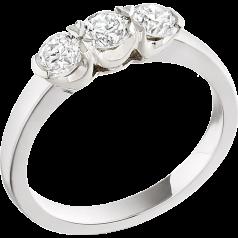 Drei-Steine Ring/Verlobungsring für Dame in Platin mit 3 runden Brillant Diamanten in Krappenfassung